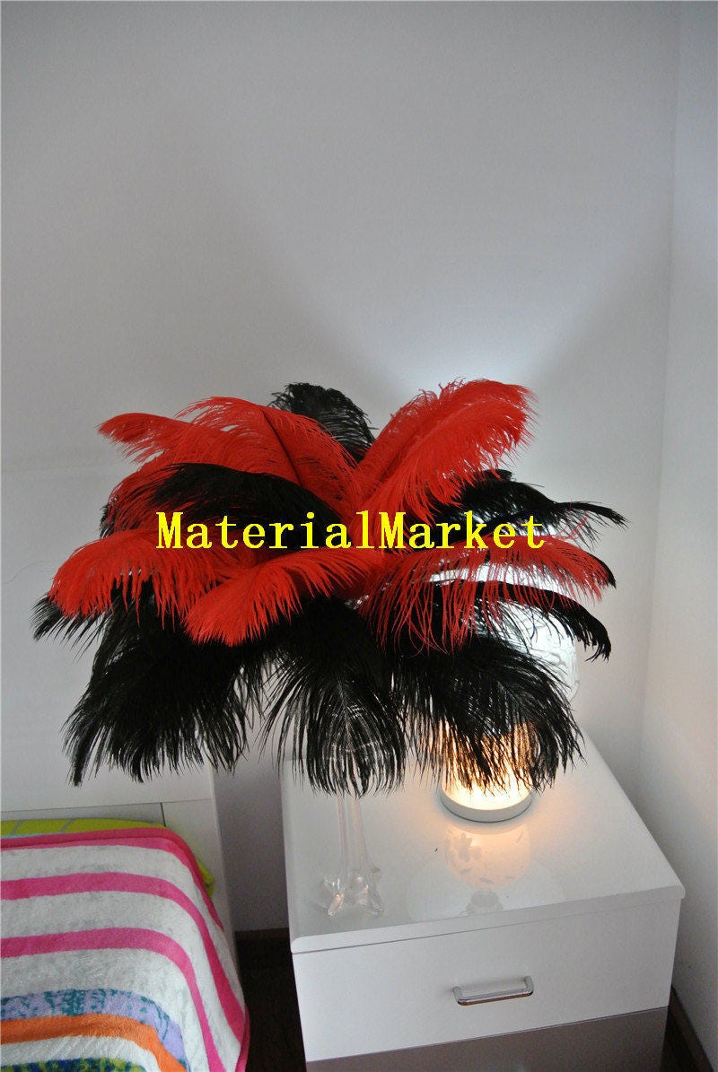 Black and red ostrich feather plume for wedding