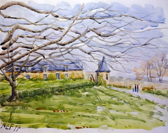 """Landscape original watercolor """"Chateau Rochefort-en-terre, Brittany"""" painting countryside Brittany decor france wall french art bretagne art"""