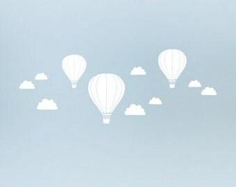 captive balloons decal walltattoo window tattoo glass tattoo decoration design tattoo Hot air balloon clouds sky sticker