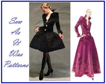 1990s Vogue Paris Original 2583 Designer Givenchy Dress Gothic Collar Flared Skirt Evening Vintage Sewing Pattern Size 6 8 10 Bust 31 32 34
