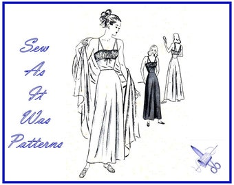 1940s FF Unused Vogue 5682 Nightgown Negligee Peignoir Shoulder Straps Shirred Bust Evening Length Vintage Sewing Pattern Size 14 Bust 32""