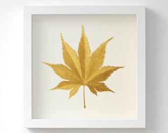 Japanese Maple Leaf (Acer tenuifolium) – Gold Original Acrylic Painting – Hand Painted in 6 Metallic Shades – Wall Art – 3 Sizes – Unframed