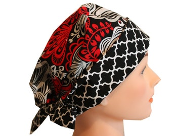 Scrub Hat Surgical Scrub Cap Chemo Hat Tie Back  Flirty Front Fold Pixie Style Red Silver Floral 2nd Item Ships FREE