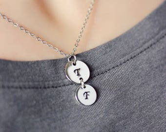 Silver Initial Necklace Personalized Necklace Silver Initial Hand Stamped Necklace Personalized Jewelry Monogram Minimalistic Necklaces