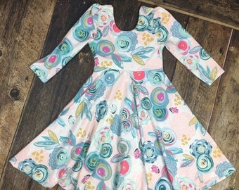Sprayed Bloom Twirl Dress ~ infant and Toddler Twirl Dress