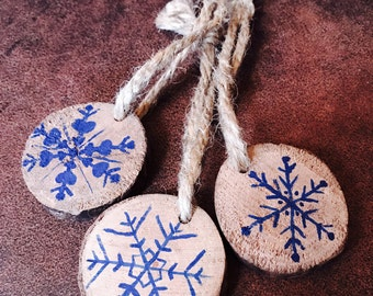 Handmade Painted Wood Slice Christmas Ornament - Blue Snowflakes Set of 3