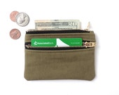 Slim Wallet Pouch Double Zipper Coin Purse Recycled Military Cotton