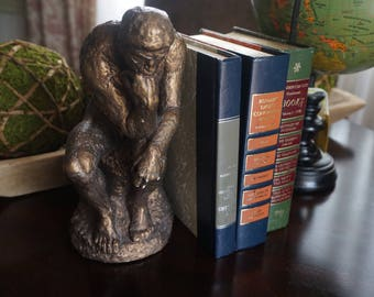 FREE SHIPPING, Vintage, Austin Chalkware Thinker Statue Bookend