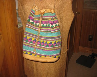 Vtg aztec  Weaved Duggle Bag drawstring top leather straps and bottom very clean great hippie boho bag in aqua free ship