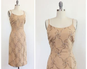 50s Bow Embroidered Wool Wiggle Dress / 1950s Vintage Novelty Print Party Dress / Medium / Size 6