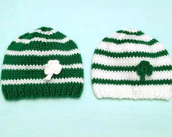 St. Patrick's Day Twin Hats • Shamrock Baby Hat Set • St Patrick's Day Newborn Photo Prop • Twins Baby Shower Gift • Twins Baby Hats
