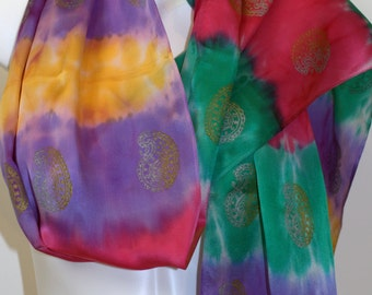 Satin Silk, hand painted Scarf, hand stamped Paisleys in Gold and Silver, 14X72in