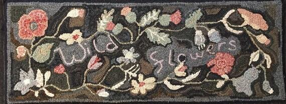 """Rug Hooking Pattern, """"Viola's Wild Flowers""""  14"""" x 40"""" P143"""