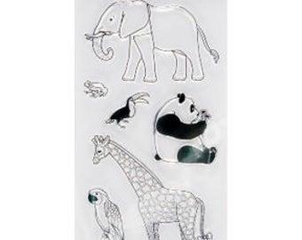 "Fiskars 4"" x 8"" Clear Stamp Set - DAY At The ZOO Panda Giraffe Elephant Toucan Parrot Frog cc21 CS017"