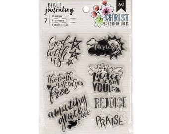 Bible Journaling Stamps GOD WITH US by American Crafts Bible Journaling 7 pc Clear stamp set 378667 1.cc1x