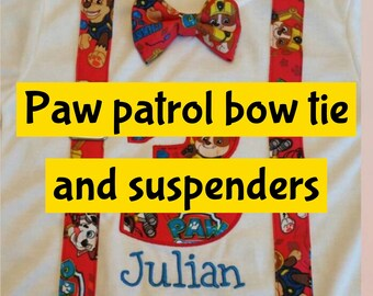 Adding paw patrol bow tie and suspenders to a shirt