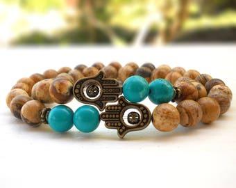 Couple's Jasper and Turquoise Hamsa bracelet, Best friend Hamsa bracelet, Hamsa bracelet,Protection set of bracelets,Gemstone Hamsa bracelet