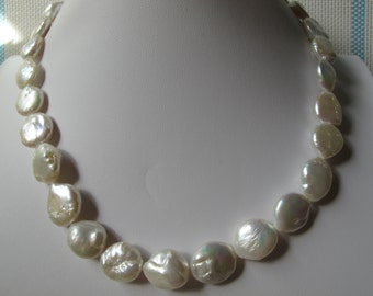 Natural White Cultured Freshwater Coin Pearl Necklace N41