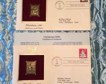 REDUCED Christmas 1990, Golden Stamp Replicas 22k Gold (2 Stamps)