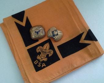 Vintage Boy Scouts Neckerchief/ Bandana With Vintage Boy Scout/ Cub Scout Slides/ Clips