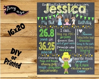 First Birthday Chalkboard 1st birthday pixi dust girl chalk board photo prop customized first birthday poster digital file or printed