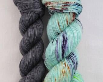 Hand-dyed yarn - sock yarn - superwash - merino - speckles - dyed-to-order - bundle SUPER CHAUSSETTE FANTASTIC