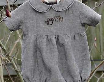 Hand Embroidered Linen Bubble Romper-Baby Boy Linen Bubble Romper-Newborn/3 Month Linen Bubble Romper-Classic Bubble Romper-Baby Shower Gift
