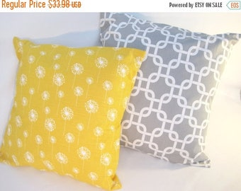 "CLEARANCE Pillow Covers, Pillows, Throw Pillows, Decorative Pillow, Cushions, Gray and Yellow Pillows, Beach Decor, Set of 2 - 18"" x 18"""