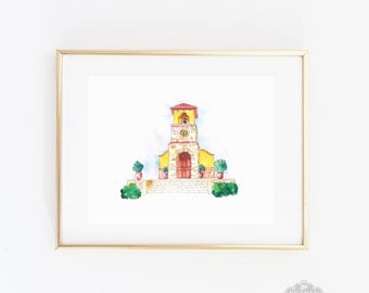 Camp Lucy Print, Chapel Watercolor, Chapel Print, Home Decor, Wedding Gift