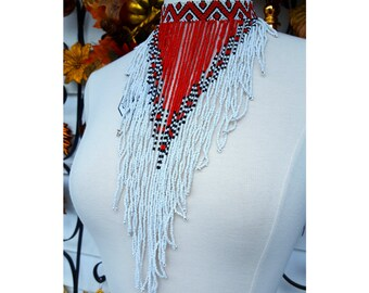 Handmade Red and White Sout African Tribal Bib Necklace