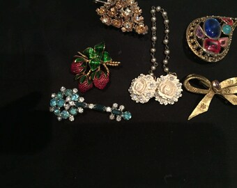 Collection of 6 1960's Brooches,Pins,Sweater Clips,Wear,Repurpose,Re-Use,Fruit,Rhinestones