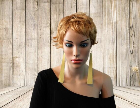 Long strip leather earrings - Lightweight earrings - Dangle Earrings -  Drop earrings - Mellow Yellow Leather earrings - Soft yellow