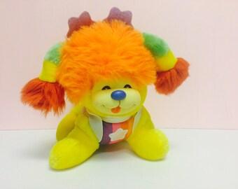 Vintage Rainbow Brite, Rainbow Brite's Dog, Puppy Brite, Plush Stuffed Animal, Mattel 1983, Hallmark 1980s, 80s toys, Rainbow Brite Toys