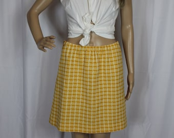 Hand made active vintage yellow plaid skirt.