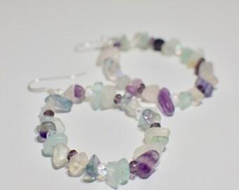 Boho Earrings, Fluorite Earrings, Hoop Earrings, Fluorite Jewelry, Boho Jewelry, Christmas Gift, Gift for Her, Stocking Stuffer