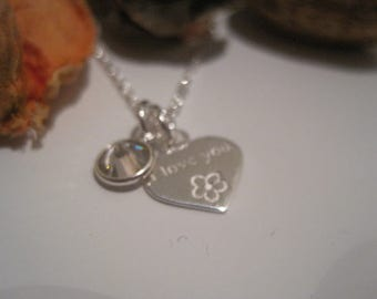 Sterling Silver I Love You Heart & Crystal Necklace (choose your colour) - a perfect gift for a loved one