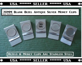 Stainless Steel Antique Silver Blank Money Clips Stainless Steel 20MM Bezel Tray DIY Craft Gift Men Money Clip Cabachon Photo Blank Trays