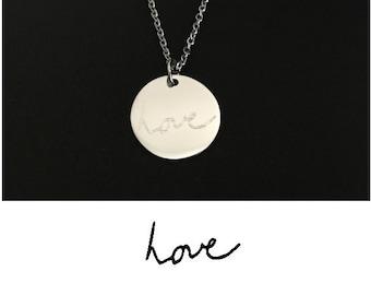 Handwriting Necklace. Actual Handwriting Necklace. Stainless Steel Handwriting Necklace. Hand Written Necklace. Hand Writing Keepsake Gift.