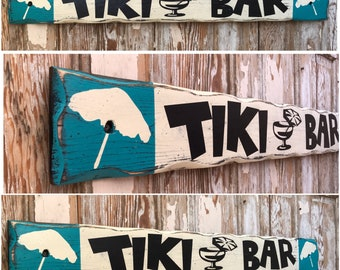 Tiki Bar.  Distressed Rustic Wood Sign  5.5x48.  Perfect for your outdoor bar or by the pool!