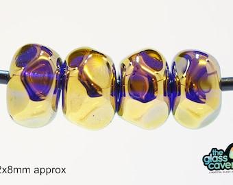 Handmade Borosilicate 22k gold fumed transparent blue beads