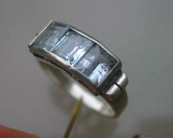 French antique art deco 1920s sterling silver  ring large ring 6 sterling ring ornate ring large Aqua blue silver ring