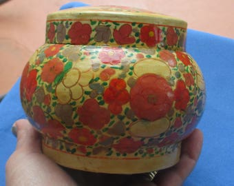 Vintage Paper Mache Orange Flower Ginger Jar