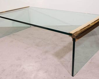 Pace Collection Brass Glass Waterfall Mid Century Coffee Table