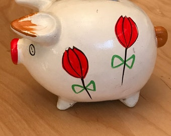 Vintage ceramic hand painted piggy bank.