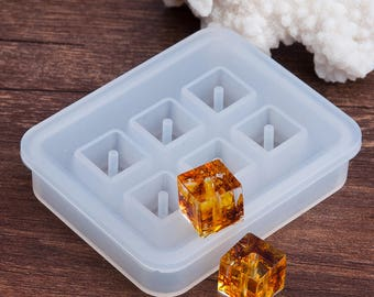 Silicone Resin Mold Rectangle White 72 x 59 MM - Makes 6 Square Resin Beads
