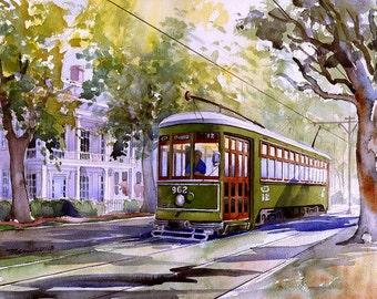 Romantic New Orleans view: Garden District Streetcar under sun-dappled trees. Matted art prints, 5x7 notecards of original watercolor.
