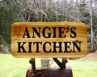 Kitchen wall name sign, ANGIE'S KITCHEN handmade on rustic Western Red Cedar wood with nice grain pattern and an all-weather gloss UV finish