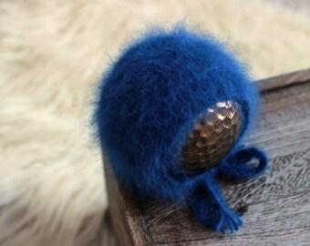 Newborn Hat//Newborn Photo Prop//Angora Bonnet//Newborn Props//Blue//Newborn Boy Hat//Baby Shower Gift//Knitted Bonnet//Angora Bonnet