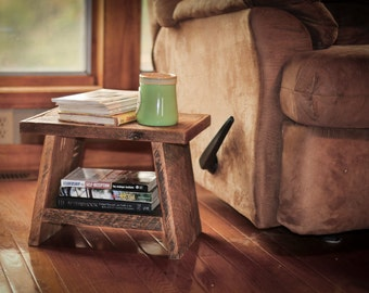 Reclaimed Wood Side Table - Step stool - Reclaimed Wood Table