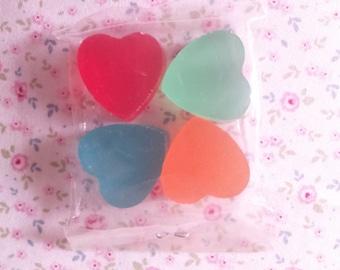 Erasers Hearts Tanslucides Vintage 80s